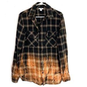 Custom Ombré Bleached Plaid Flannel Mens Large